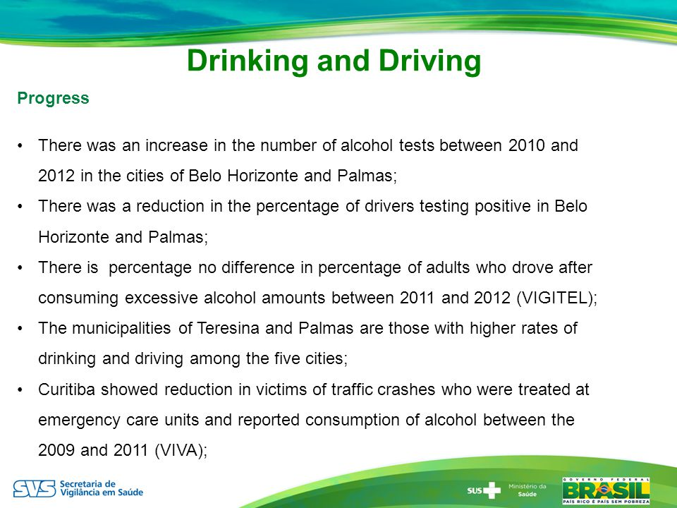 Drinking and Driving Progress There was an increase in the number of alcohol tests between 2010 and 2012 in the cities of Belo Horizonte and Palmas; There was a reduction in the percentage of drivers testing positive in Belo Horizonte and Palmas; There is percentage no difference in percentage of adults who drove after consuming excessive alcohol amounts between 2011 and 2012 (VIGITEL); The municipalities of Teresina and Palmas are those with higher rates of drinking and driving among the five cities; Curitiba showed reduction in victims of traffic crashes who were treated at emergency care units and reported consumption of alcohol between the 2009 and 2011 (VIVA);