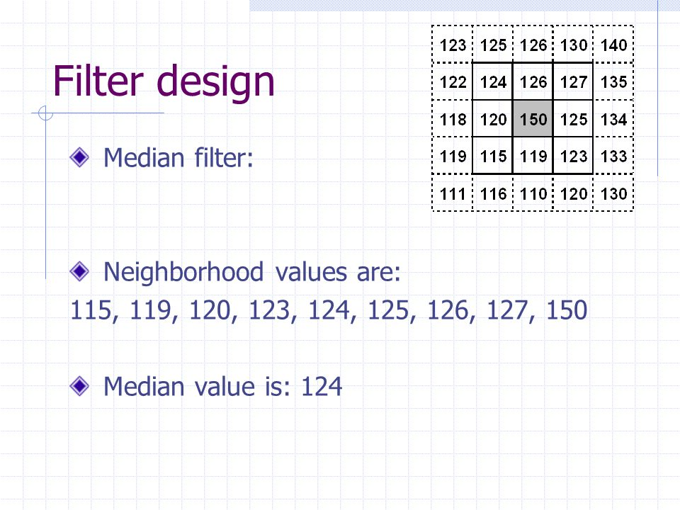 Median filter for color space Approach #1 1.Separate true-color image into color planes 2.