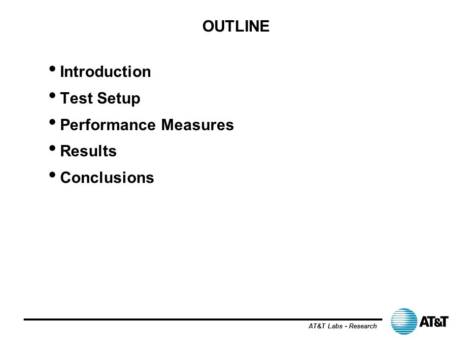AT&T Labs - Research OUTLINE Introduction Test Setup Performance Measures Results Conclusions