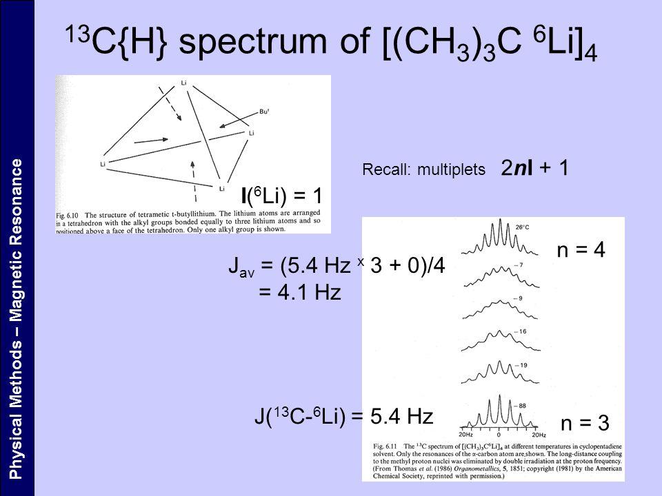 13 C{H} spectrum of [(CH 3 ) 3 C 6 Li] 4 Physical Methods – Magnetic Resonance I( 6 Li) = 1 Recall: multiplets 2nI + 1 J( 13 C- 6 Li) = 5.4 Hz J av =