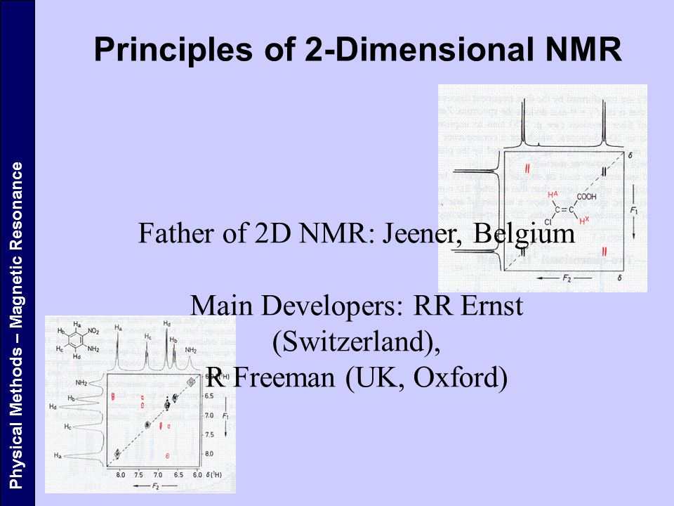 Physical Methods – Magnetic Resonance Principles of 2-Dimensional NMR Father of 2D NMR: Jeener, Belgium Main Developers: RR Ernst (Switzerland), R Freeman (UK, Oxford)