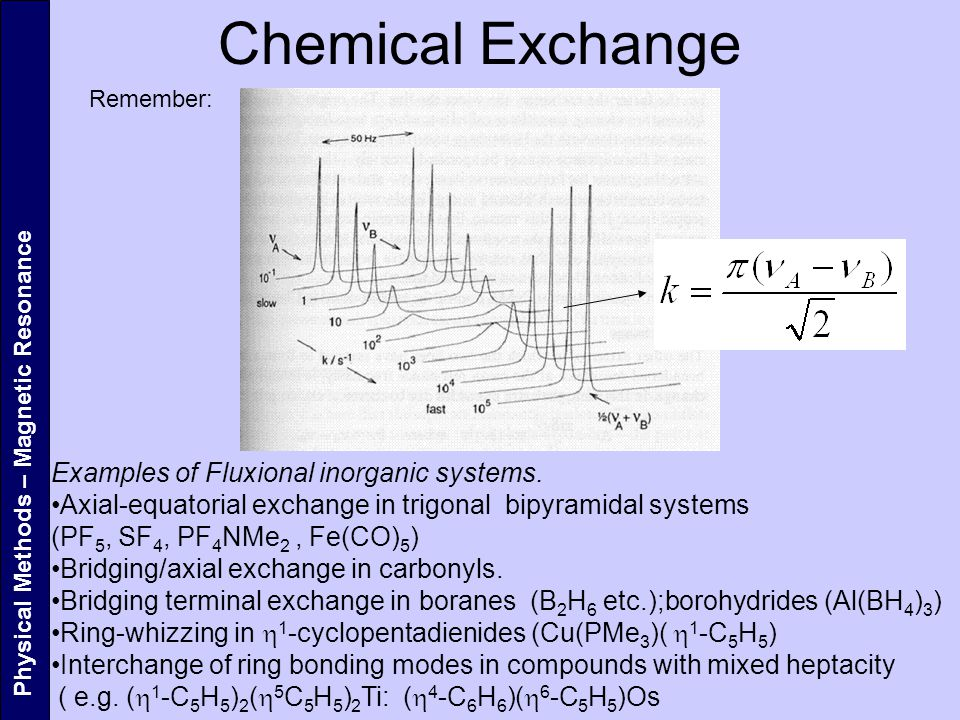 Chemical Exchange Physical Methods – Magnetic Resonance Remember: Examples of Fluxional inorganic systems.