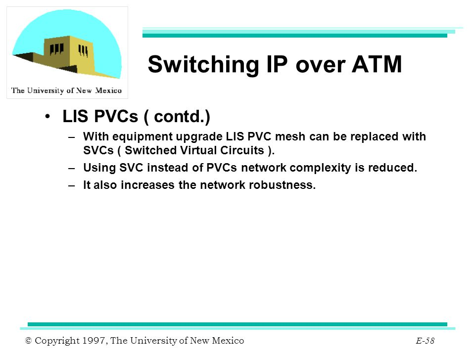 © Copyright 1997, The University of New Mexico E-58 Switching IP over ATM LIS PVCs ( contd.) –With equipment upgrade LIS PVC mesh can be replaced with