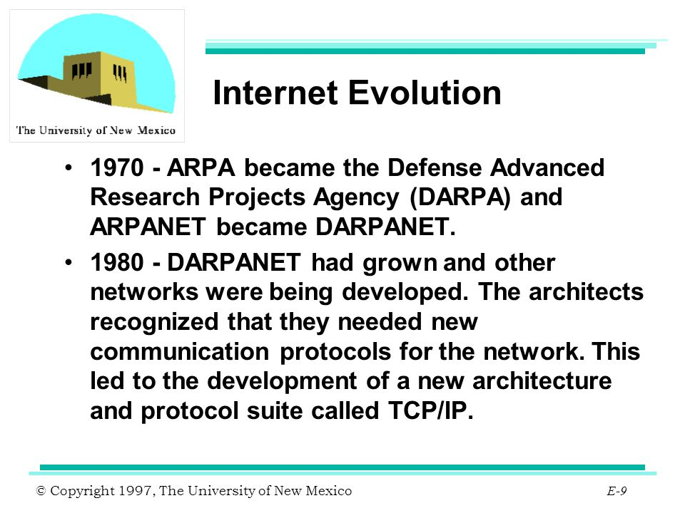 © Copyright 1997, The University of New Mexico E-40 Architecture Overview vBNS interconnects 5 SCCs ( Super computer centers ) and 4 NAPs ( Network access points ).