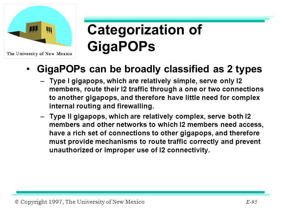 © Copyright 1997, The University of New Mexico E-95 Categorization of GigaPOPs GigaPOPs can be broadly classified as 2 types –Type I gigapops, which a