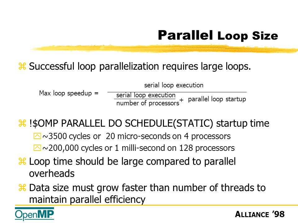 A LLIANCE '98 zSuccessful loop parallelization requires large loops.