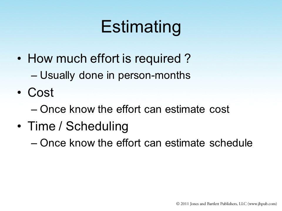 Estimating How much effort is required .