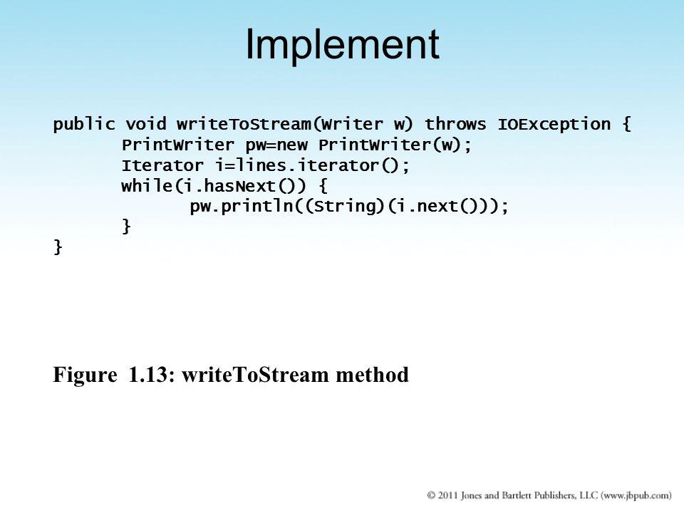 public void writeToStream(Writer w) throws IOException { PrintWriter pw=new PrintWriter(w); Iterator i=lines.iterator(); while(i.hasNext()) { pw.println((String)(i.next())); } Figure 1.13: writeToStream method Implement