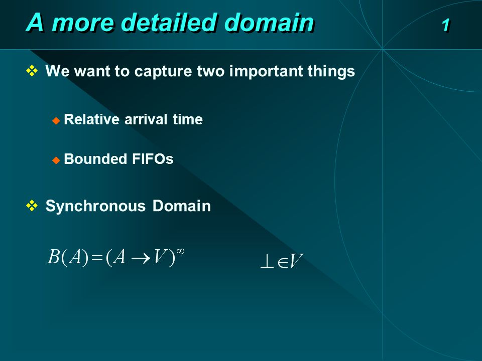 A more detailed domain 1  We want to capture two important things  Relative arrival time  Bounded FIFOs  Synchronous Domain