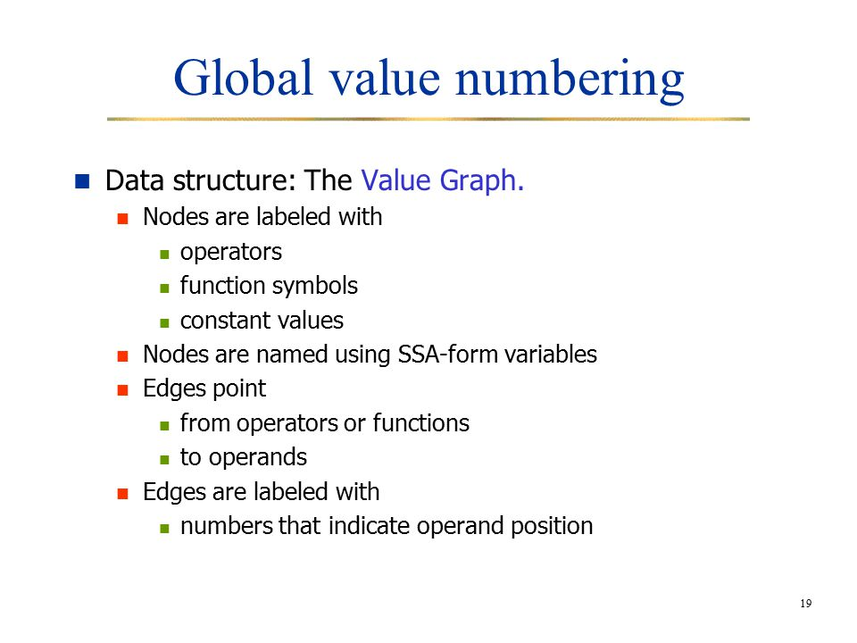 19 Global value numbering Data structure: The Value Graph.