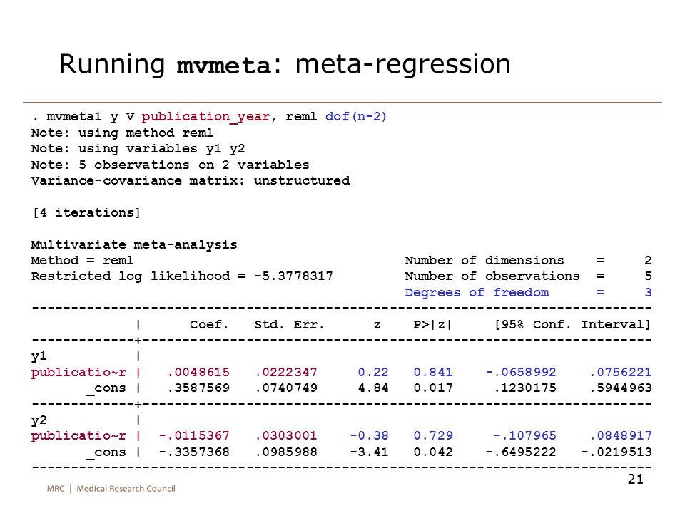 21 Running mvmeta : meta-regression. mvmeta1 y V publication_year, reml dof(n-2) Note: using method reml Note: using variables y1 y2 Note: 5 observati