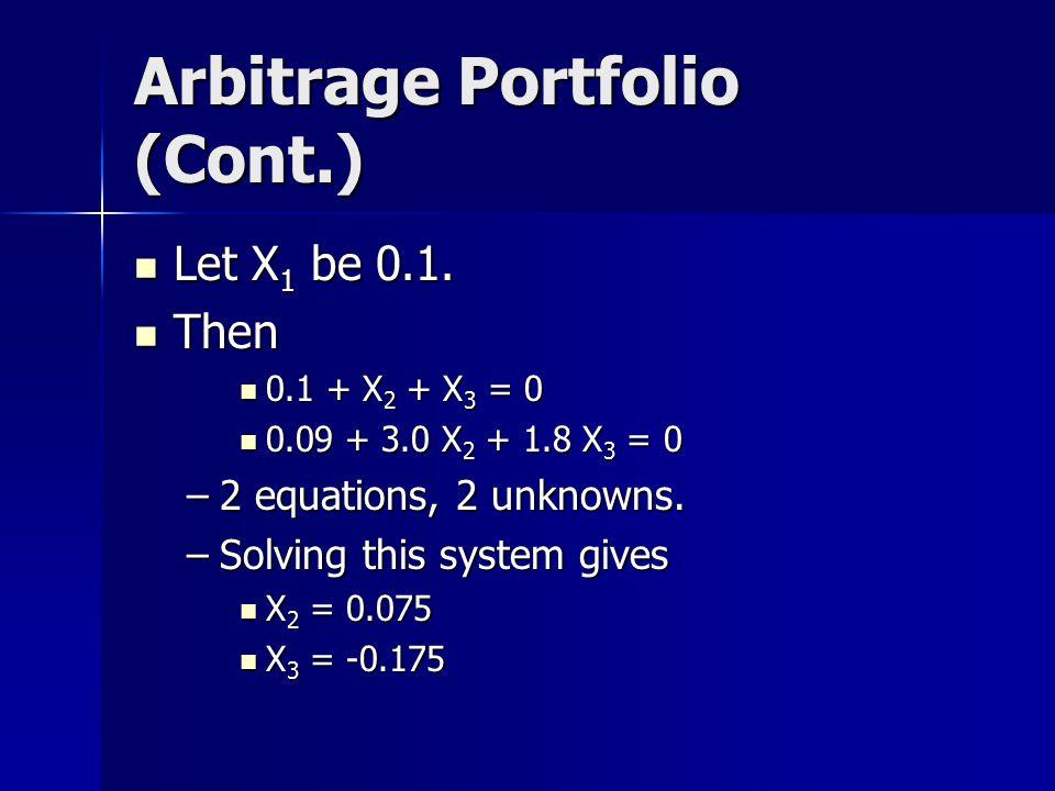 Arbitrage Portfolio (Cont.) Let X 1 be 0.1.Let X 1 be 0.1.