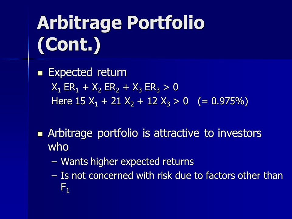 Arbitrage Portfolio (Cont.) Expected return Expected return X 1 ER 1 + X 2 ER 2 + X 3 ER 3 > 0 Here 15 X 1 + 21 X 2 + 12 X 3 > 0 (= 0.975%) Arbitrage portfolio is attractive to investors who Arbitrage portfolio is attractive to investors who –Wants higher expected returns –Is not concerned with risk due to factors other than F 1