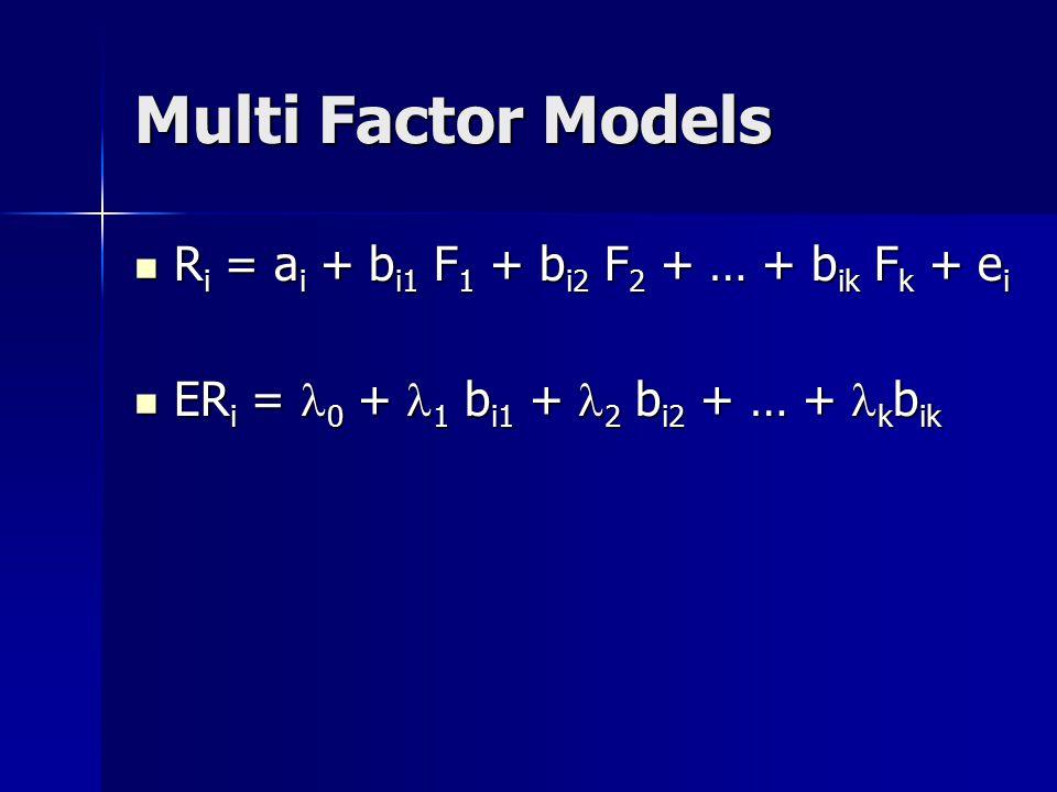 Multi Factor Models R i = a i + b i1 F 1 + b i2 F 2 + … + b ik F k + e i R i = a i + b i1 F 1 + b i2 F 2 + … + b ik F k + e i ER i = 0 + 1 b i1 + 2 b i2 + … + k b ik ER i = 0 + 1 b i1 + 2 b i2 + … + k b ik