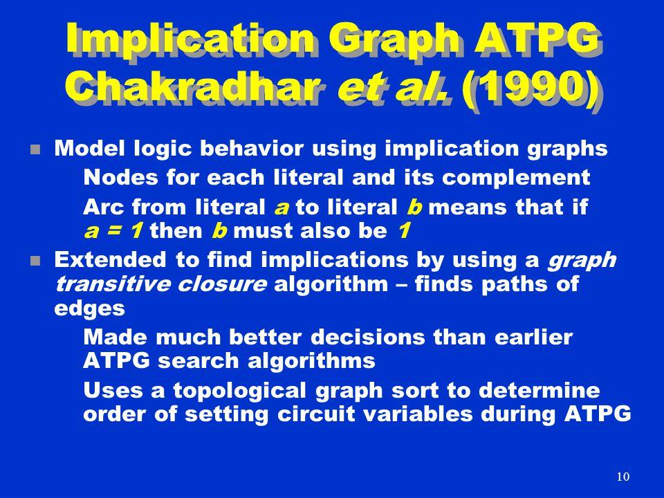 Implication Graph ATPG Chakradhar et al.