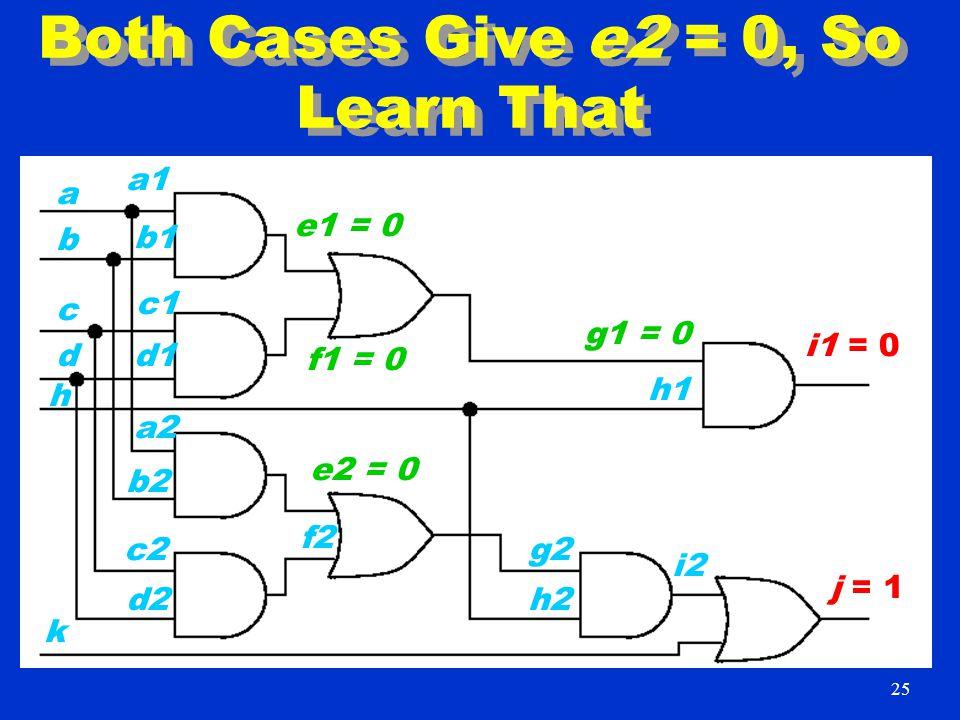 Both Cases Give e2 = 0, So Learn That i1 = 0 j = 1 a1 b1 h c1 k d1 b a d c d2 c2 b2 a2 f2 e2 = 0 h2 g2 h1 i2 g1 = 0 f1 = 0 e1 = 0 25