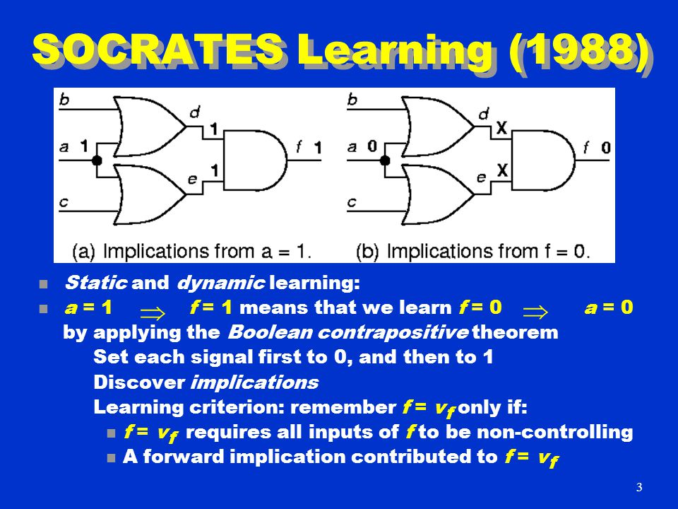 SOCRATES Learning (1988) n Static and dynamic learning: n a = 1 f = 1 means that we learn f = 0 a = 0 by applying the Boolean contrapositive theorem Set each signal first to 0, and then to 1 Discover implications Learning criterion: remember f = v f only if: n f = v f requires all inputs of f to be non-controlling n A forward implication contributed to f = v f   3
