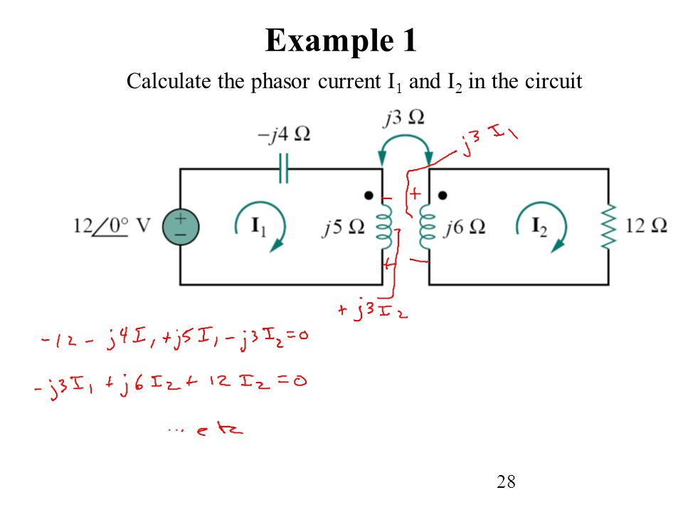 28 Example 1 Calculate the phasor current I 1 and I 2 in the circuit