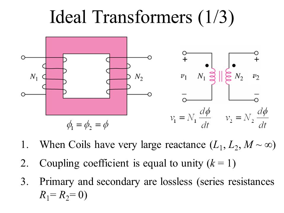 Ideal Transformers (1/3) 1.When Coils have very large reactance (L 1, L 2, M ~  ) 2.Coupling coefficient is equal to unity (k = 1) 3.Primary and secondary are lossless (series resistances R 1 = R 2 = 0)