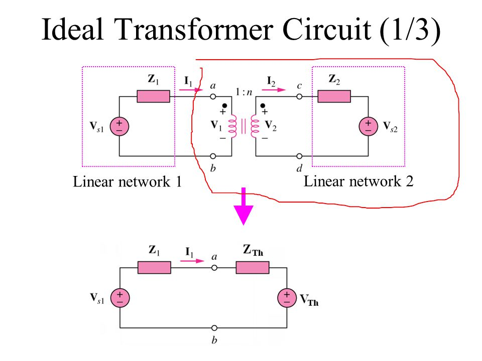 Ideal Transformer Circuit (1/3) Linear network 1 Linear network 2