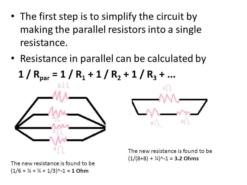 The first step is to simplify the circuit by making the parallel resistors into a single resistance.