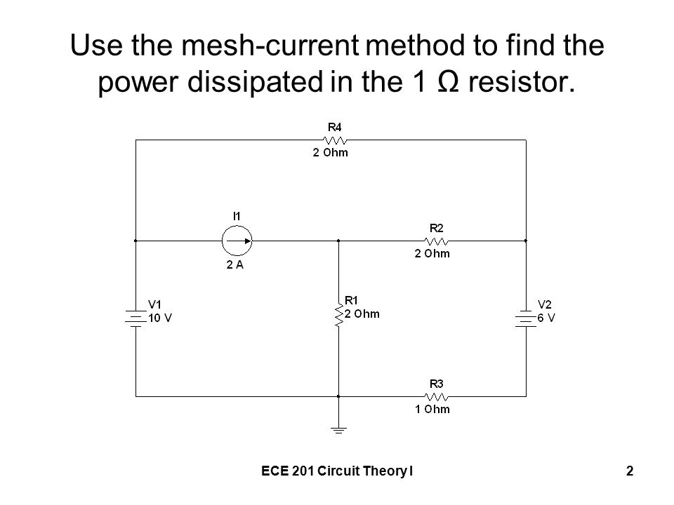 ECE 201 Circuit Theory I2 Use the mesh-current method to find the power dissipated in the 1 Ω resistor.