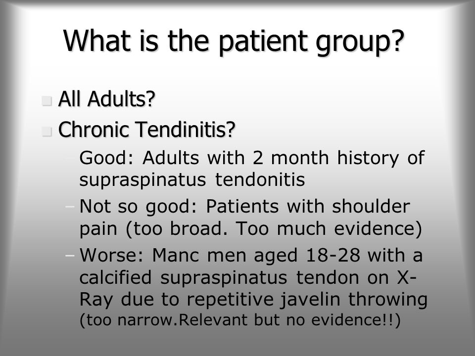 What is the patient group. n All Adults. n Chronic Tendinitis.
