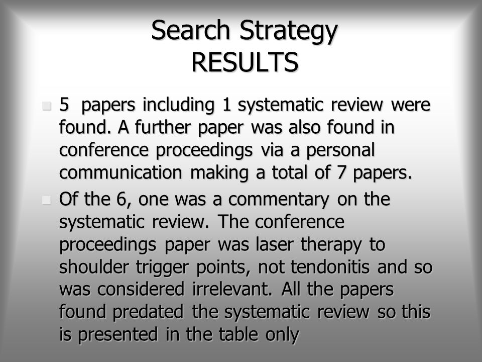 Search Strategy RESULTS n 5 papers including 1 systematic review were found.