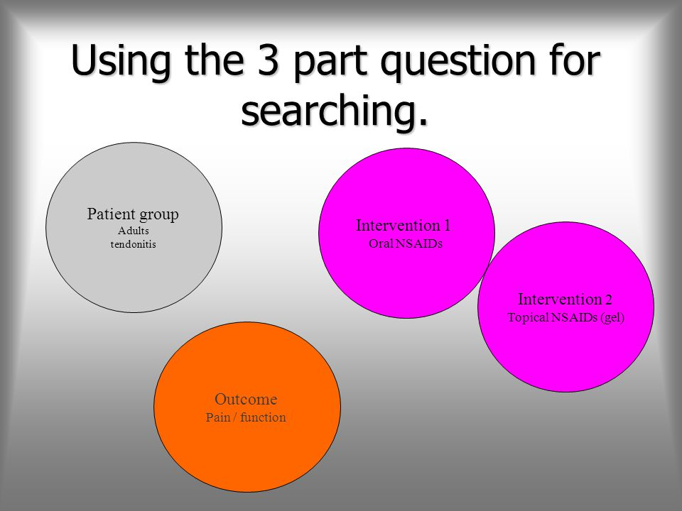 Using the 3 part question for searching.