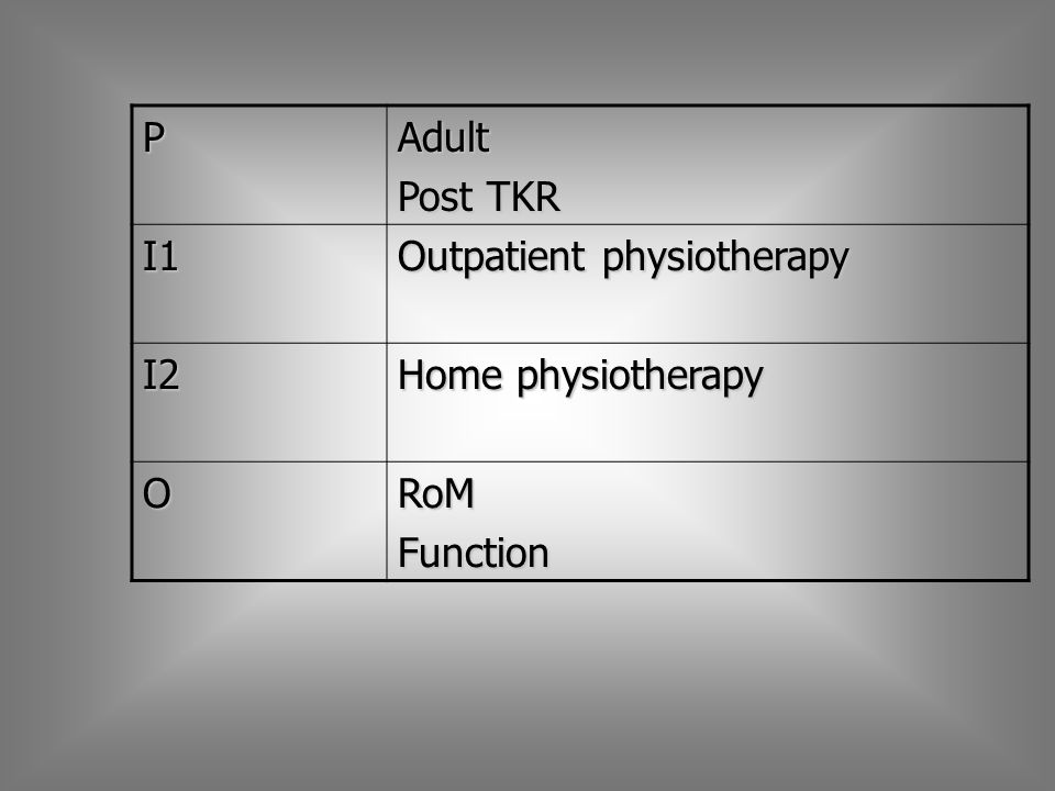 PAdult Post TKR I1 Outpatient physiotherapy I2 Home physiotherapy ORoMFunction