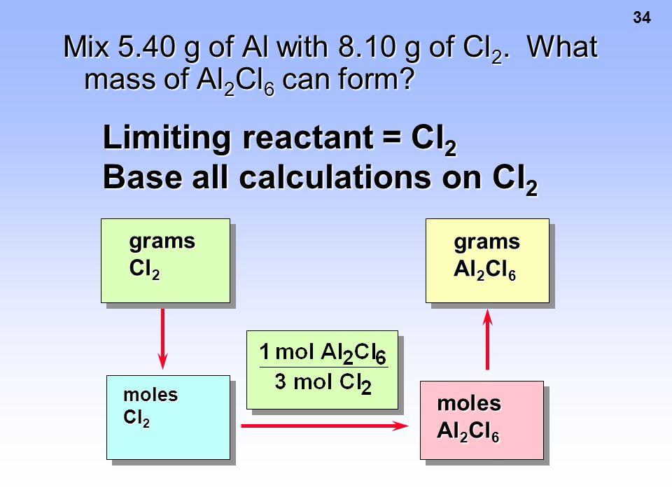 34 Mix 5.40 g of Al with 8.10 g of Cl 2. What mass of Al 2 Cl 6 can form? Limiting reactant = Cl 2 Base all calculations on Cl 2 moles Cl 2 moles Al 2
