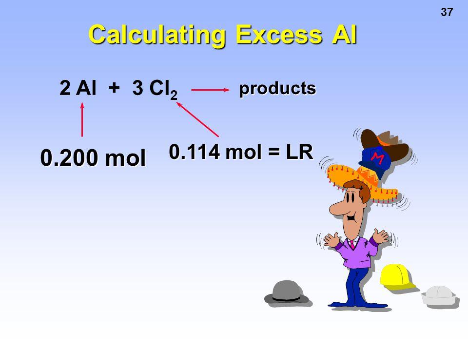 37 2 Al + 3 Cl 2 products 0.200 mol 0.114 mol = LR Calculating Excess Al