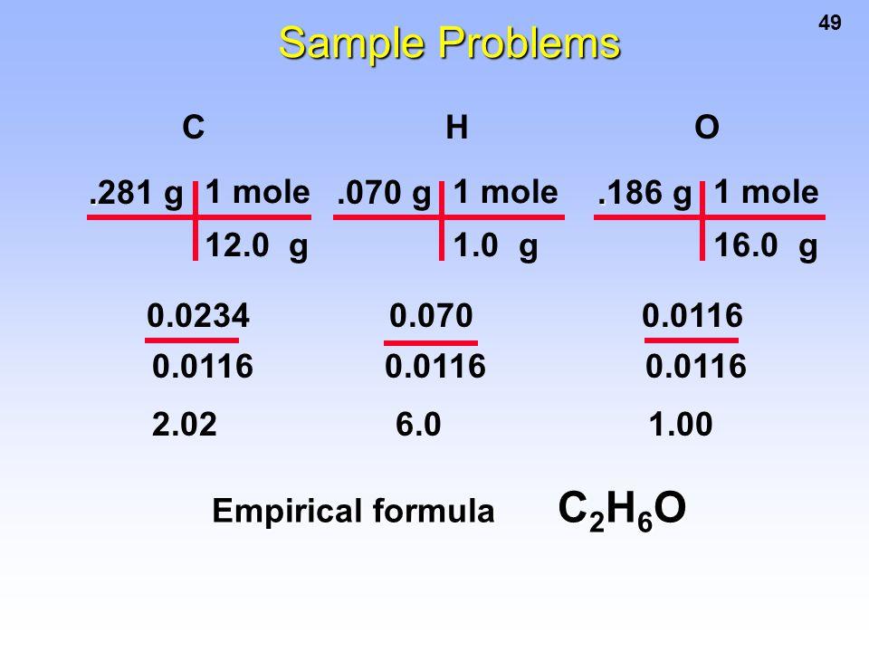 49..281 g 1 mole 12.0 g.070 g 1 mole 1.0 g C H O 2.02 6.0 1.00 Empirical formula C 2 H 6 O..186 g 1 mole 16.0 g 0.0234 0.070 0.0116 0.0116 0.0116 0.01