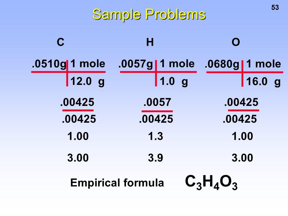53..0510g 1 mole 12.0 g.0057g 1 mole 1.0 g C H O 1.00 1.3 1.00 Empirical formula C 3 H 4 O 3..0680g 1 mole 16.0 g.00425.0057.00425.00425.00425.00425 S