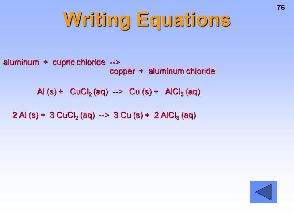 76 Writing Equations aluminum + cupric chloride --> copper + aluminum chloride Al (s) + CuCl 2 (aq) --> Cu (s) + AlCl 3 (aq) Al (s) + CuCl 2 (aq) -->