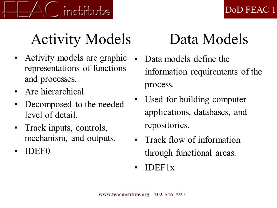 DoD FEAC 1 www.feacinstitute.org 202-546-7927 Activity Models Data Models Activity models are graphic representations of functions and processes. Are