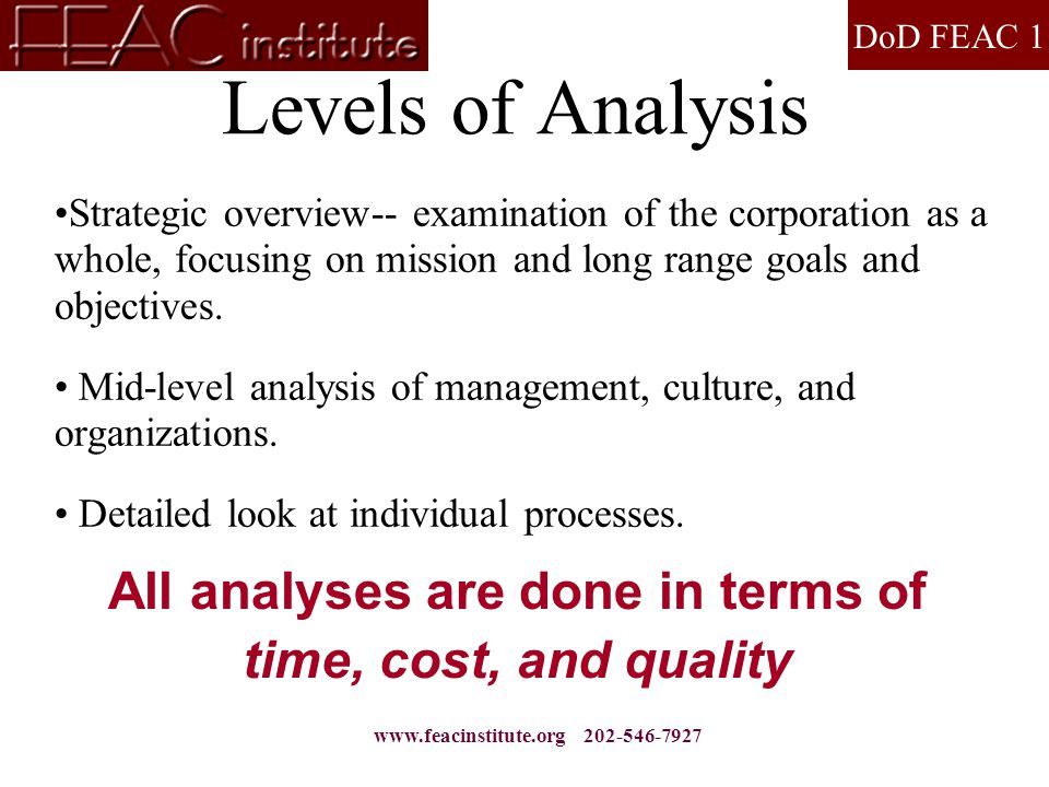 DoD FEAC 1 www.feacinstitute.org 202-546-7927 Levels of Analysis Strategic overview-- examination of the corporation as a whole, focusing on mission and long range goals and objectives.