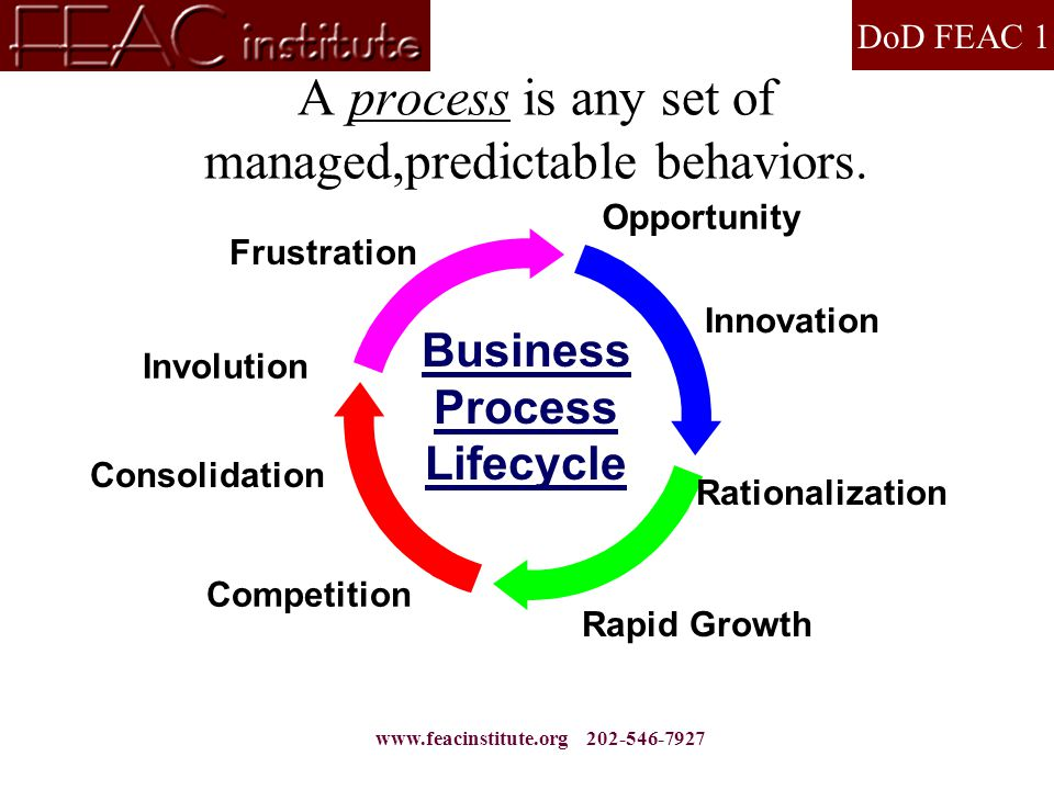 DoD FEAC 1 www.feacinstitute.org 202-546-7927 A process is any set of managed,predictable behaviors.
