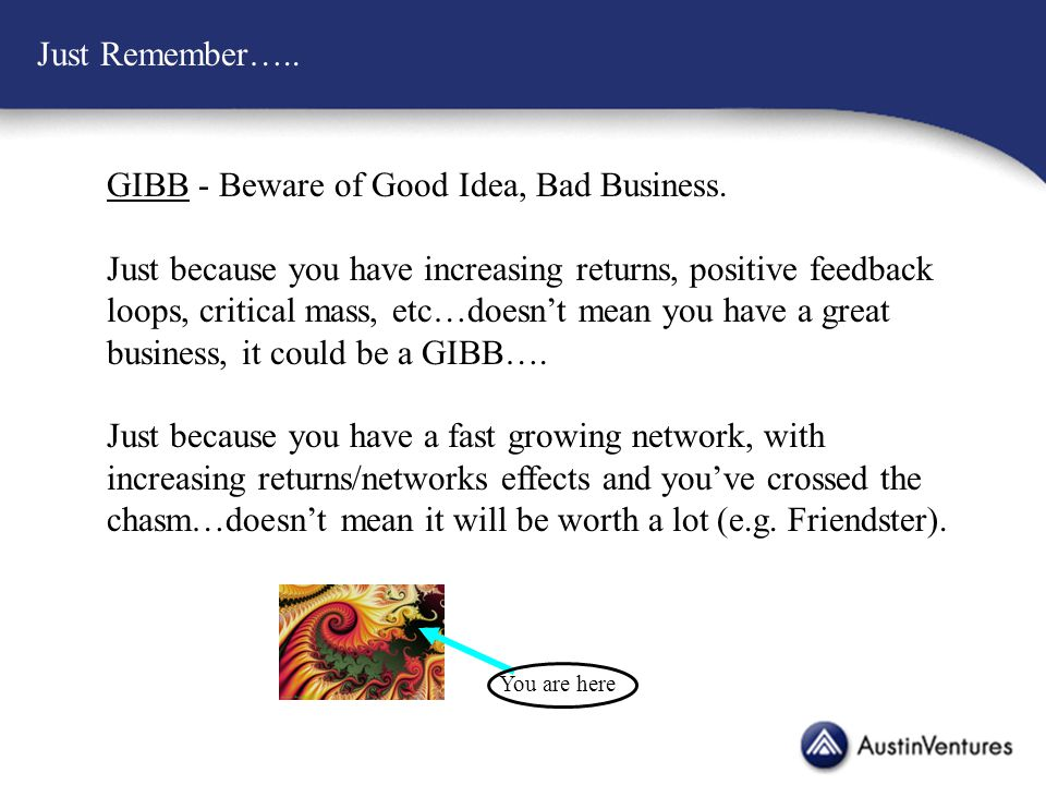 Just Remember….. GIBB - Beware of Good Idea, Bad Business.