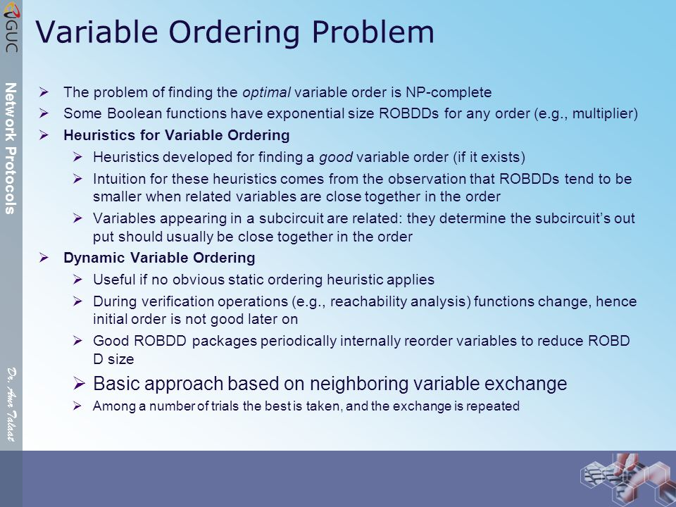 Dr. Amr Talaat Network Protocols Variable Ordering Problem  The problem of finding the optimal variable order is NP-complete  Some Boolean functions