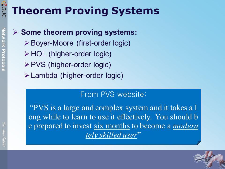 Dr. Amr Talaat Network Protocols Theorem Proving Systems  Some theorem proving systems:  Boyer-Moore (first-order logic)  HOL (higher-order logic)