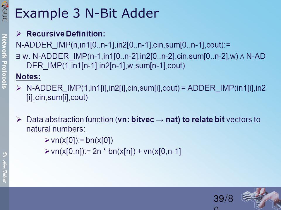 Dr. Amr Talaat Network Protocols Example 3 N-Bit Adder  Recursive Definition: N-ADDER_IMP(n,in1[0..n-1],in2[0..n-1],cin,sum[0..n-1],cout):= ∃ w. N-AD