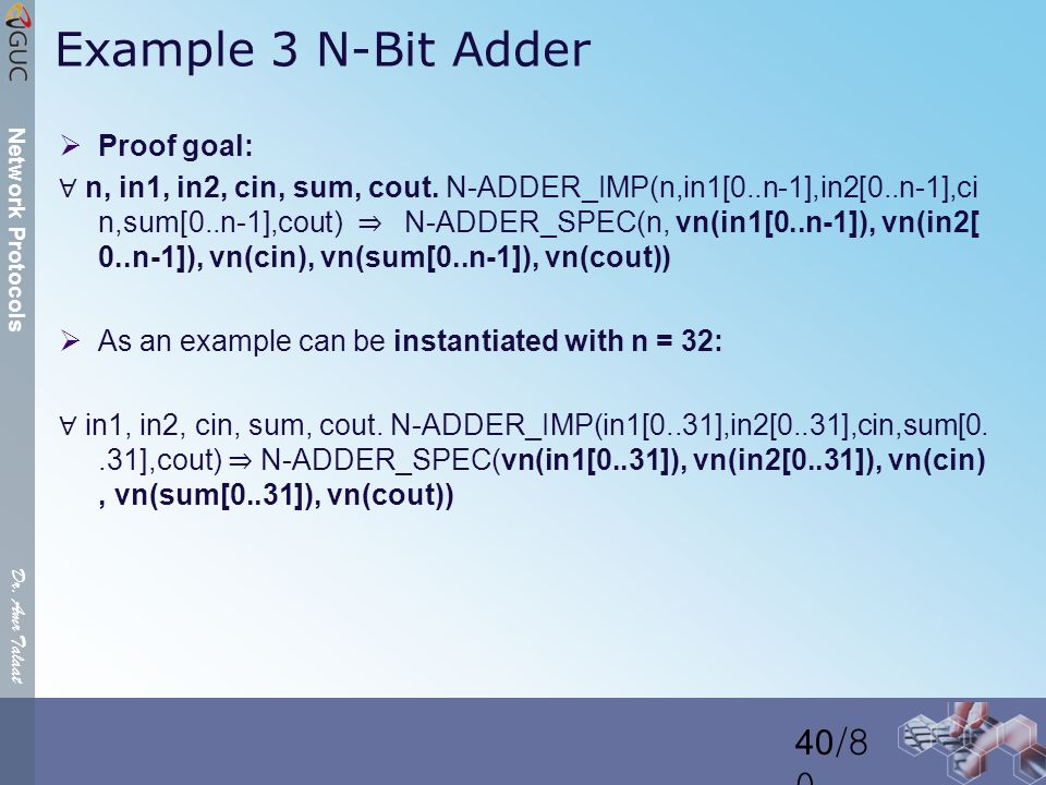 Dr. Amr Talaat Network Protocols Example 3 N-Bit Adder  Proof goal: ∀ n, in1, in2, cin, sum, cout.