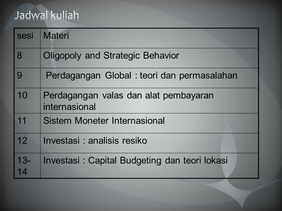 sesiMateri 8Oligopoly and Strategic Behavior 9 Perdagangan Global : teori dan permasalahan 10Perdagangan valas dan alat pembayaran internasional 11Sis