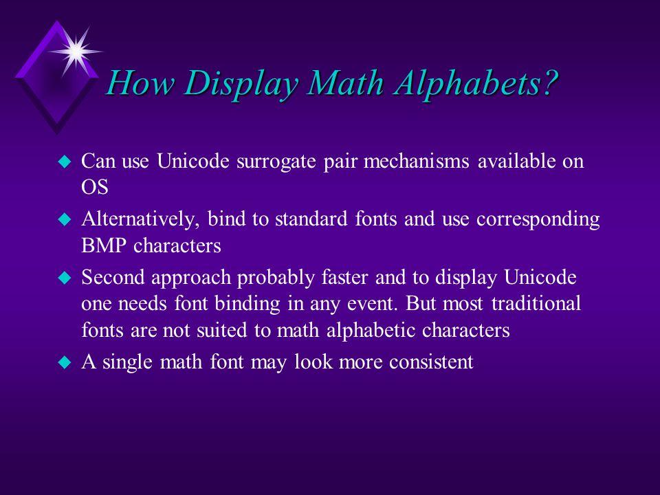 How Display Math Alphabets.