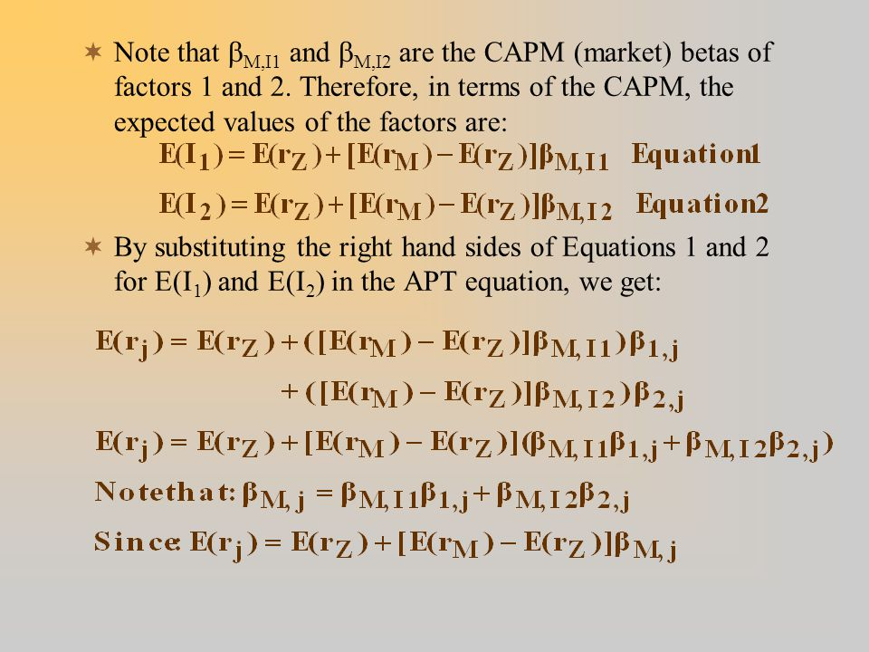  Note that  M,I1 and  M,I2 are the CAPM (market) betas of factors 1 and 2.