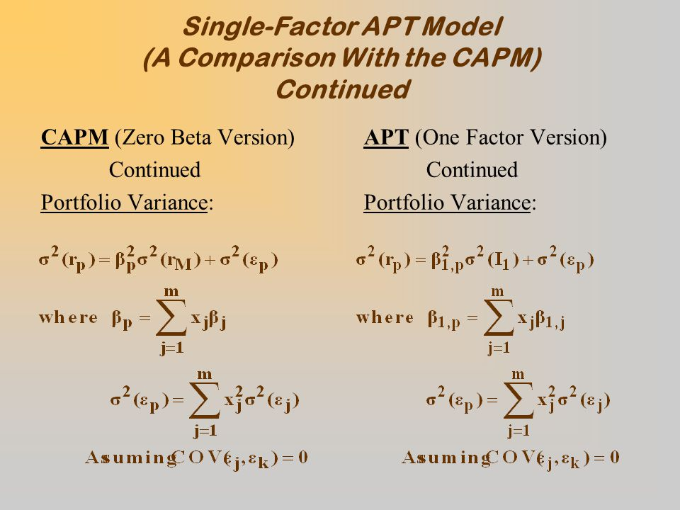 Single-Factor APT Model (A Comparison With the CAPM) Continued CAPM (Zero Beta Version) Continued Portfolio Variance: APT (One Factor Version) Continued Portfolio Variance: