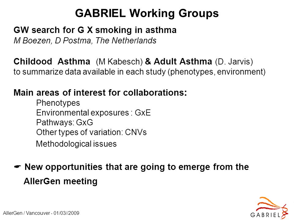AllerGen / Vancouver - 01/03//2009 GABRIEL Working Groups GW search for G X smoking in asthma M Boezen, D Postma, The Netherlands Childood Asthma (M Kabesch) & Adult Asthma (D.