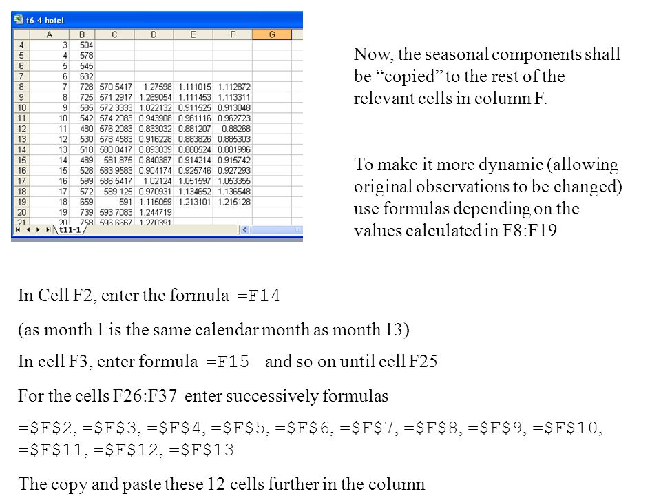 "Now, the seasonal components shall be ""copied"" to the rest of the relevant cells in column F. To make it more dynamic (allowing original observations"