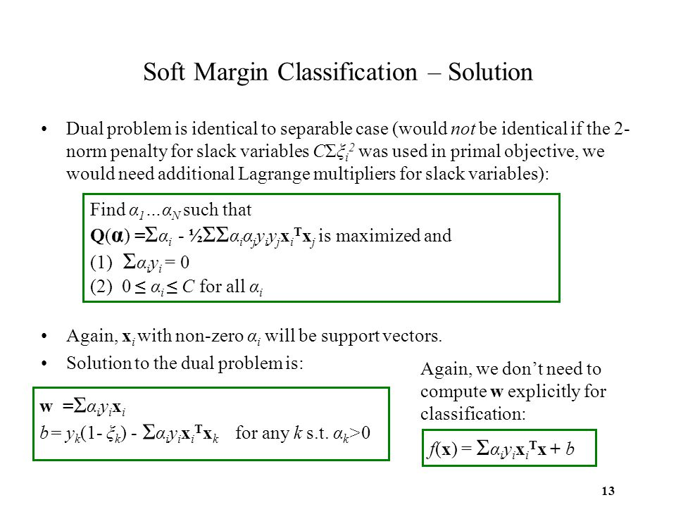 13 Soft Margin Classification – Solution Dual problem is identical to separable case (would not be identical if the 2- norm penalty for slack variable